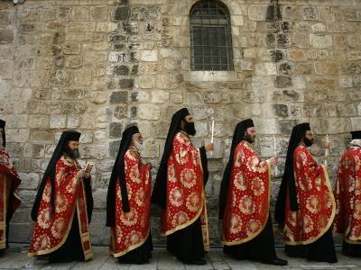 Greek Orthodox Bishops at Easter Mass, Jerusalem, Israel-Emilio Morenatti-Photographic Print