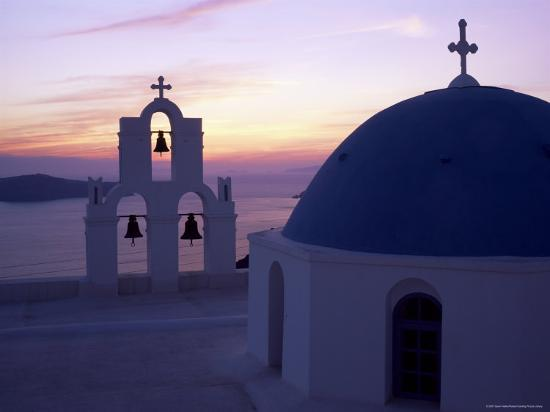 Greek Orthodox Church in Fira, Santorini (Thira), Cyclades Islands, Greece-Gavin Hellier-Photographic Print