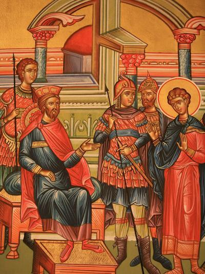 Greek Orthodox Icon Depicting Martyr with Roman Governor, Thessaloniki, Macedonia, Greece, Europe-Godong-Photographic Print