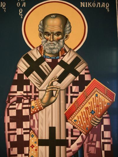 Greek Orthodox Icon Depicting St. Nicholas, Thessaloniki, Macedonia, Greece, Europe-Godong-Photographic Print