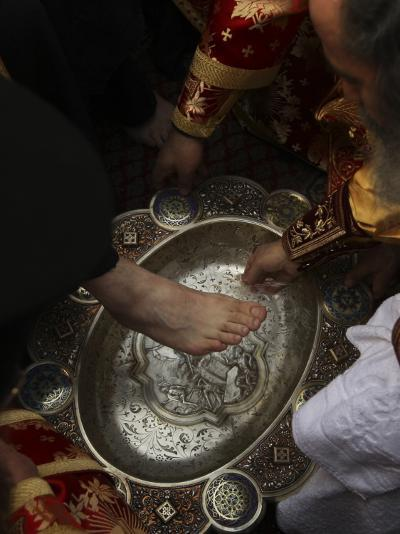 Greek Orthodox Patriarch Washes Foot of Priest at Ceremony Outside Church of Holy Sepulchre--Photographic Print