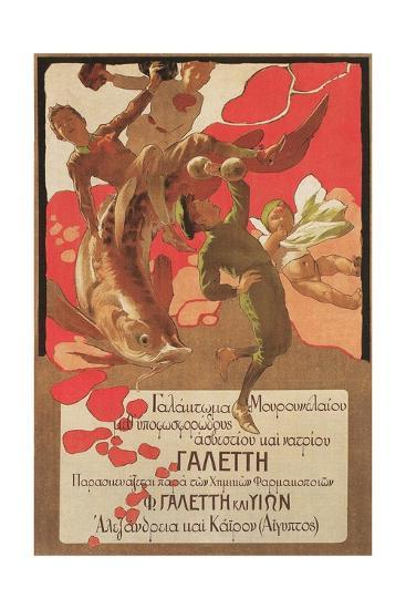Greek Poster with Children and Large Fish--Giclee Print
