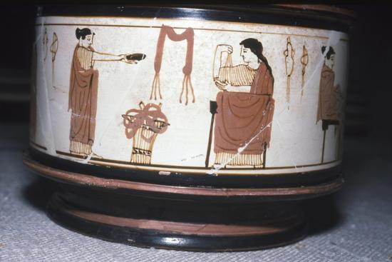 Greek Pyxis, (Cosmetic Box), Women performing domestic tasks, Athens, c460BC-450 BC-Unknown-Giclee Print