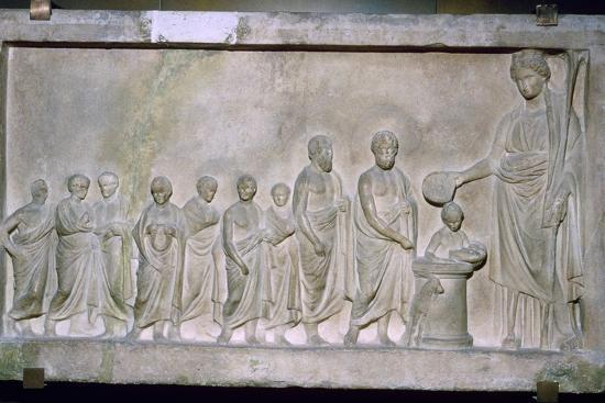 Greek relief of a sacrifice to Demeter, 4th century BC. Artist: Unknown-Unknown-Photographic Print