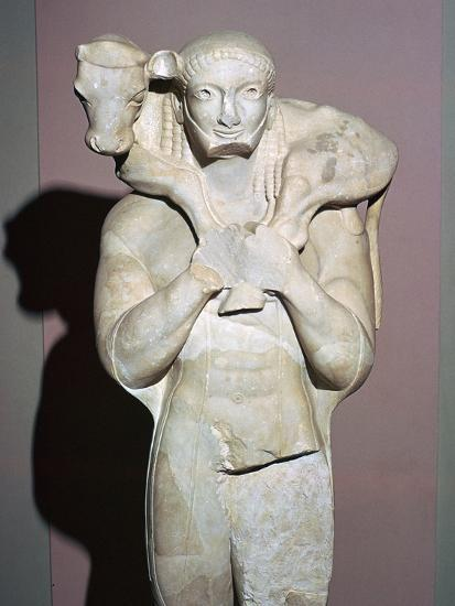 Greek sculpture known as the Moscophorus, 6th century BC. Artist: Unknown-Unknown-Giclee Print