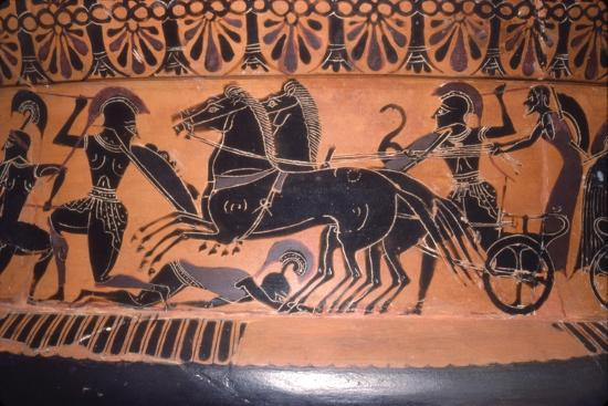 Greek Soldiers and Chariot in Battle, vase painting, c6th century BC-Unknown-Giclee Print