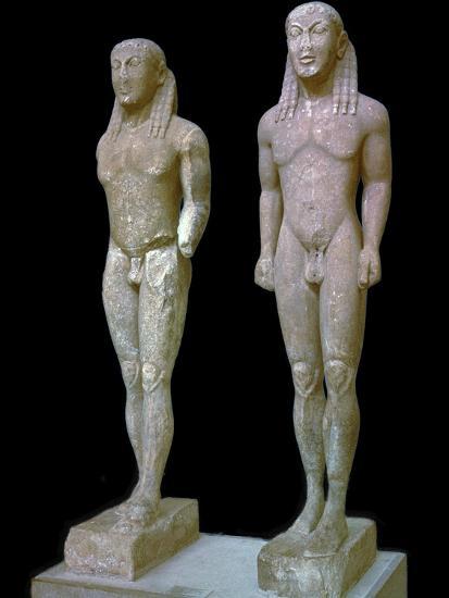 Greek statues of Kleobis and Biton, 6th century BC. Artist: Unknown-Unknown-Giclee Print