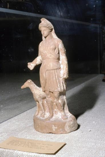 Greek Terracotta, Artemis Bendis with a small hunting dog, c350BC-c300 BC-Unknown-Giclee Print