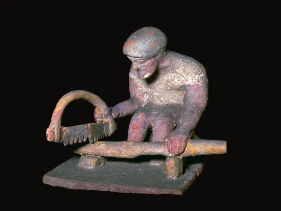 Greek terracotta figure of a man sawing wood, 6th century BC. Artist: Unknown-Unknown-Giclee Print