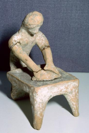 Greek terracotta of a woman making bread. Artist: Unknown-Unknown-Giclee Print
