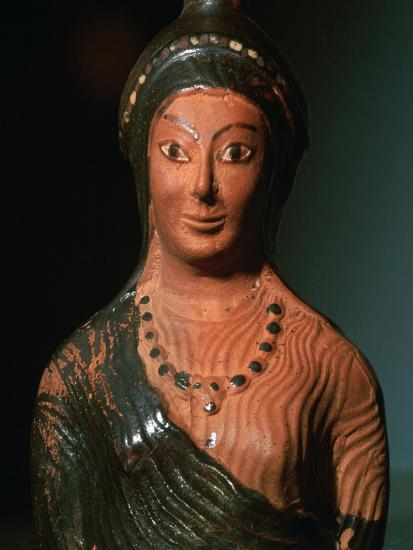 Greek terracotta scent bottle in the shape of a female bust-Unknown-Giclee Print
