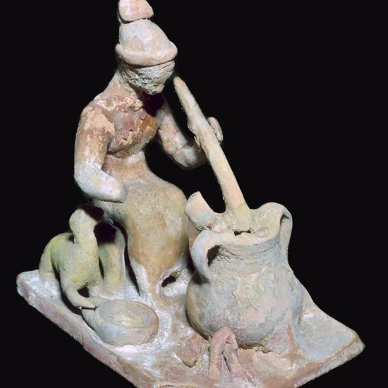 Greek terracotta statuette of a woman cooking. Artist: Unknown-Unknown-Giclee Print