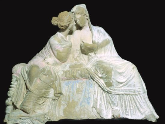 Greek terracotta statuette of two women chatting. Artist: Unknown-Unknown-Photographic Print