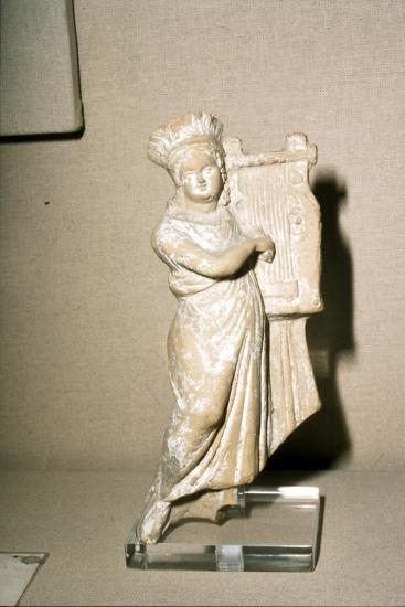 Greek Terracotta, Woman playing Kithera with plectrum, 3rd century BC-2nd century BC-Unknown-Giclee Print