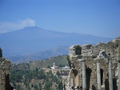 Greek Theatre and Mount Etna, Taormina, Sicily, Italy-J Lightfoot-Photographic Print