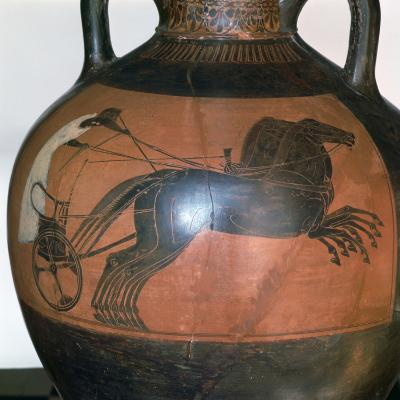 Greek Vase Depicting a Chariot, C5th-6th Century Bc--Photographic Print