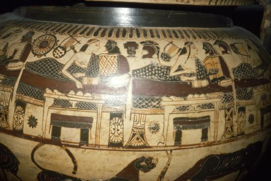 Greek Vase-Painting, A Banquet, possibly Funerary, c5th century BC-Unknown-Giclee Print