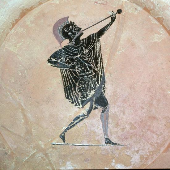Greek vase painting of a Greek soldier with a trumpet. Artist: Unknown-Unknown-Giclee Print