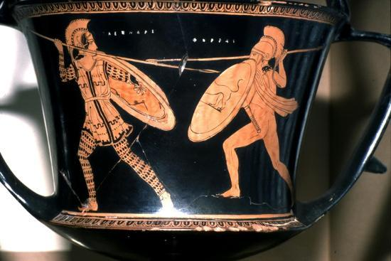 Greek Vase Painting, Persian and Hoplite fighting, c5th century BC-Unknown-Giclee Print