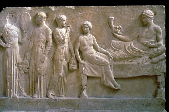 Greek votive relief of actors. Artist: Unknown-Unknown-Giclee Print