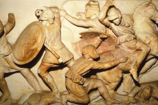 Greeks fight Persians, the Alexander Sarcophagus, Sidon, 4th century BC, (20th century)-Unknown-Photographic Print