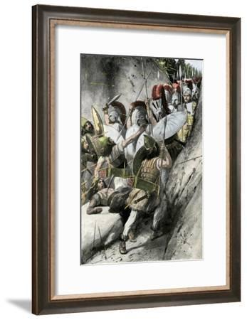 Greeks under Leonidas Holding Off the Persian Invasion at Thermopylae, 480 Bc--Framed Giclee Print