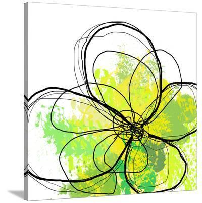 Green Abstract Brush Splash Flower-Irena Orlov-Stretched Canvas Print