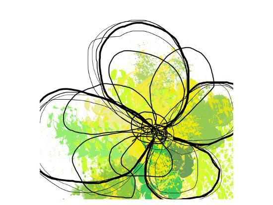 Green Abstract Brush Splash Flower-Irena Orlov-Art Print