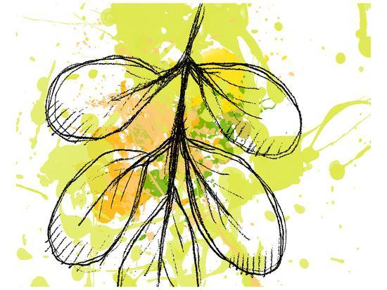 Green Abstract Brush Splash Leaves-Irena Orlov-Art Print