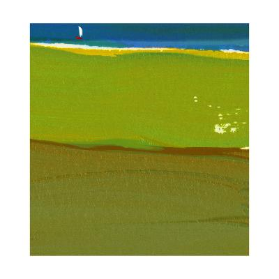 Green Abstract with Sailboat--Art Print