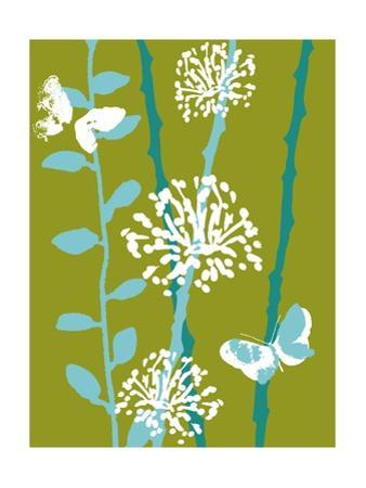 Green and Blue Color Print with Flowers and Butterfly