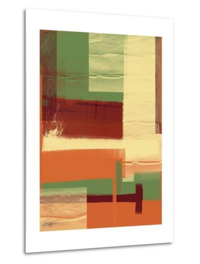 Green and Brown Abstract 1-NaxArt-Metal Print