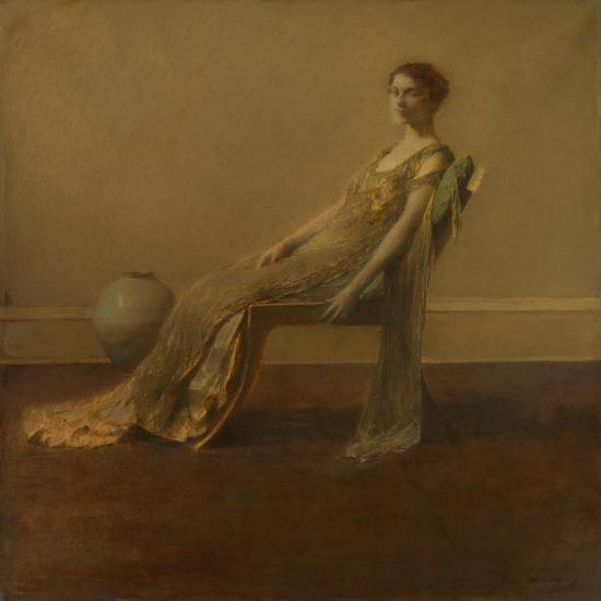 GREEN AND Gold, by Thomas Wilmer Dewing, 1917, American Painting, Oil on Canvas. A Slouching Elegan--Art Print