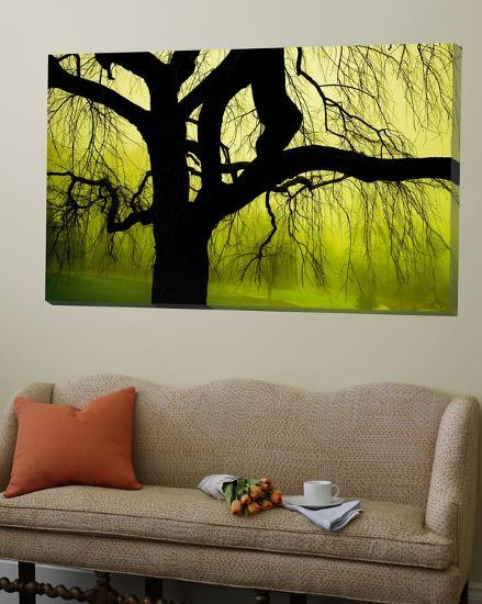 Green and Golden Landscape behind Tree-Jan Lakey-Loft Art