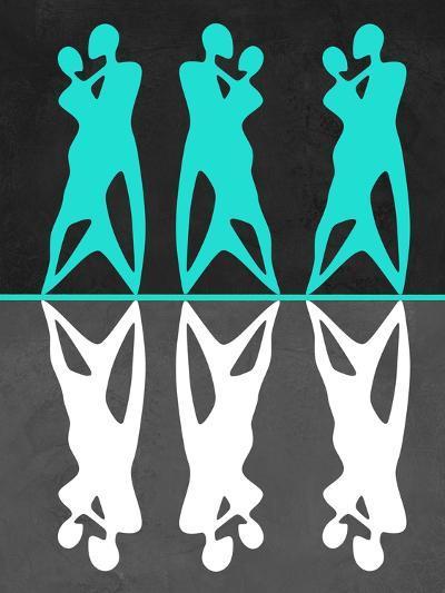 Green and White Couple Dancing-Felix Podgurski-Art Print