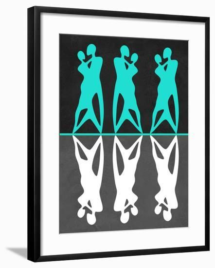 Green and White Couple Dancing-Felix Podgurski-Framed Art Print