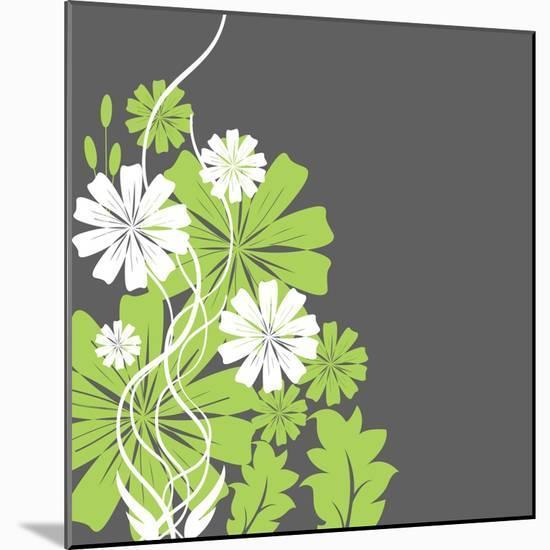 Green and White Flowers-sabelskaya-Mounted Premium Giclee Print