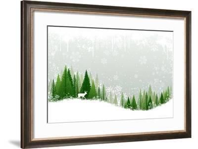 Green and White Winter Forest Grunge Background Design-Mike McDonald-Framed Art Print