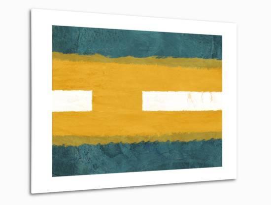 Green and Yellow Abstract Theme 1-NaxArt-Metal Print