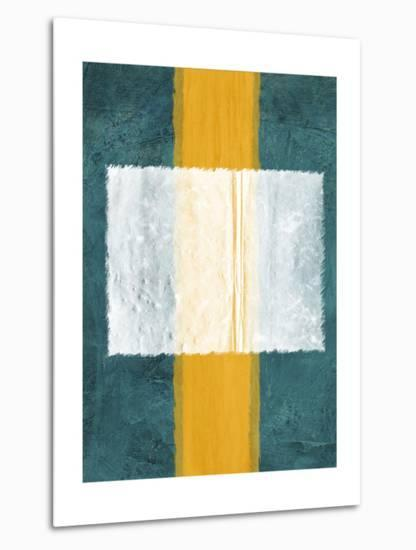 Green and Yellow Abstract Theme 3-NaxArt-Metal Print