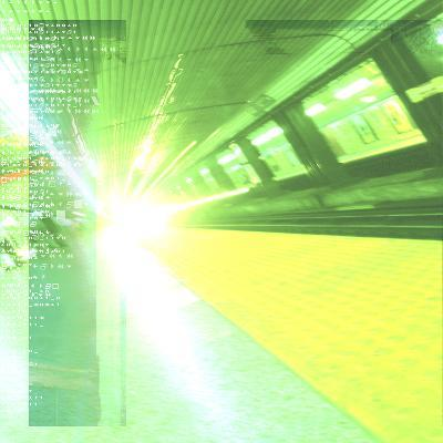 Green and Yellow Departing Subway in Station with Information Su--Photographic Print