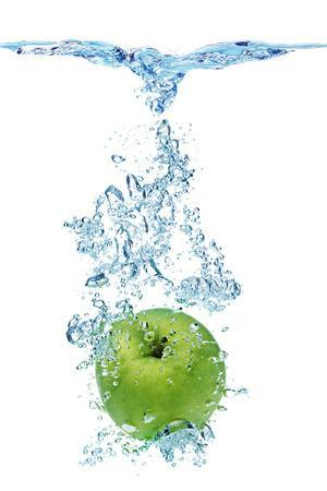 Green Apple In Water-Irochka-Photographic Print