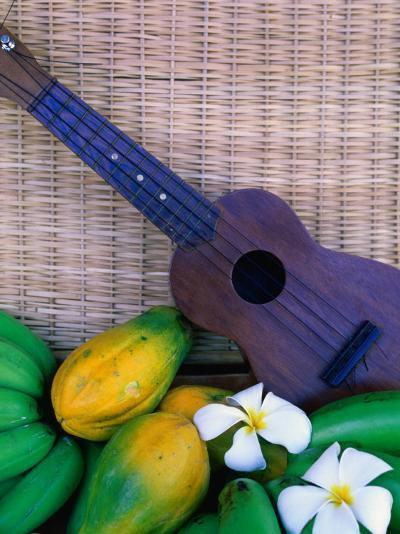 Green Bananas, Papayas, Plumeria and Ukulele, U.S.A.-Ann Cecil-Photographic Print