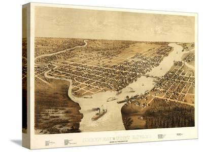 Green Bay, Wisconsin - Panoramic Map-Lantern Press-Stretched Canvas Print