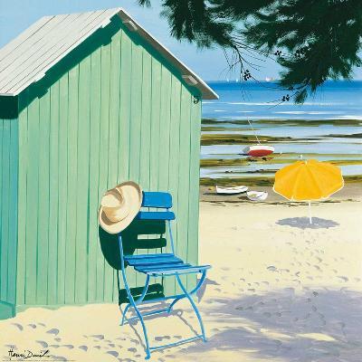 Green Beach Hut-Henri Deuil-Art Print