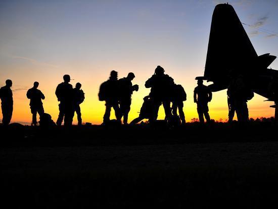 Green Berets Prepare to Board a KC-130 Aircraft-Stocktrek Images-Photographic Print