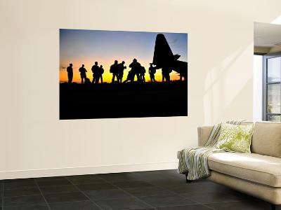 Green Berets Prepare to Board a Kc-130 Aircraft-Stocktrek Images-Wall Mural