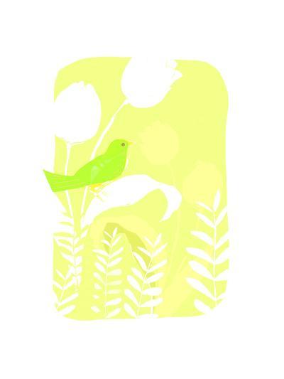Green Bird on Plant--Art Print