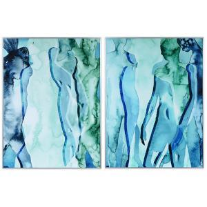 """""""Green & Blue Silhouette"""" on Reverse Printed Art Glass and Anodized Aluminum Silver Frame Wall Art"""