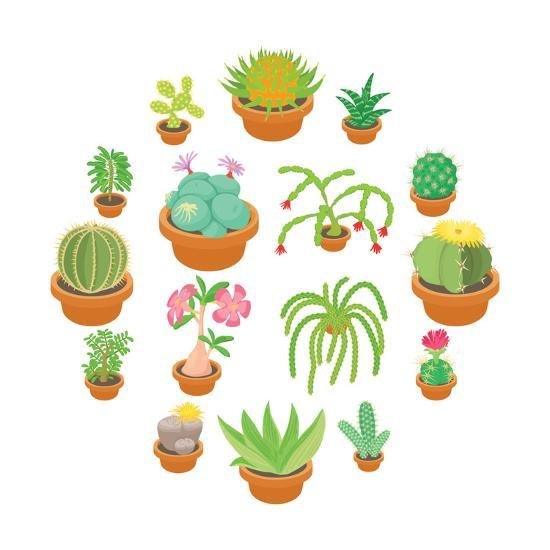Green Cactuses Icons Set. Cartoon Illustration of 16 Green Cactuses Vector Icons for Web-Ylivdesign-Art Print